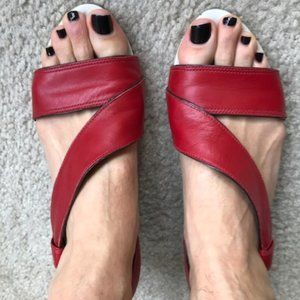 "Cherry Red Leather Camper 2"" Wedges. Like New!"